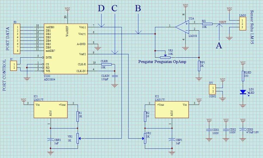 Rangkaian Skematik & Layout PCB Sensor Suhu LM35 + ADC0804