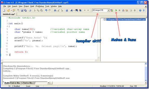 ... IDE C-Free 4.0 Standard beserta kompiler MinGW 2.95 telah sukses
