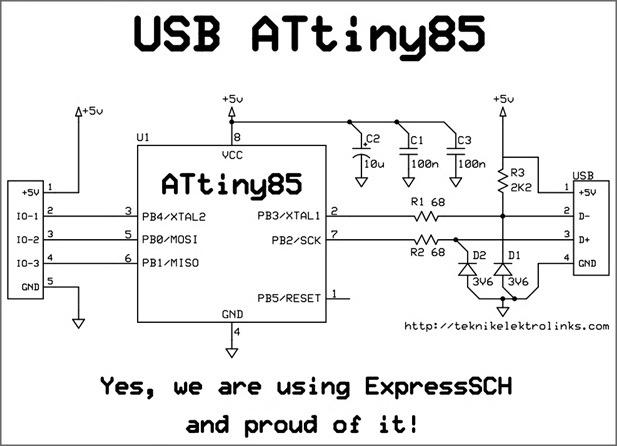 skematik dan layout pcb usb attiny85 pada board usb
