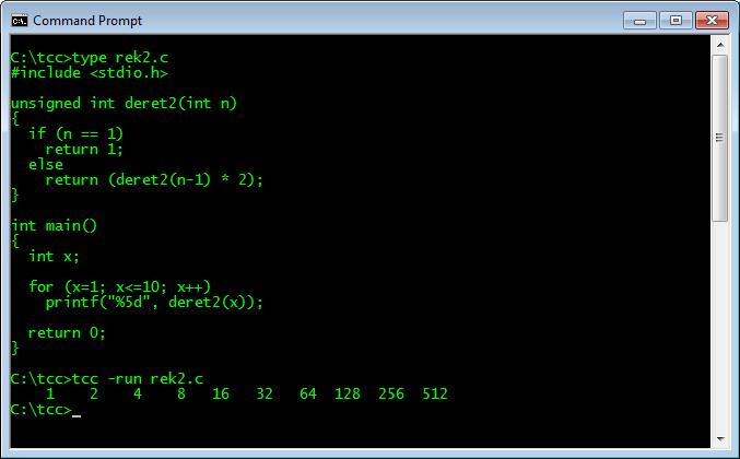 Fungsi Rekursif 2 dalam bahasa C dan hasil eksekusinya
