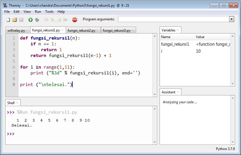 Tampilan program Rekursi 1 versi Python