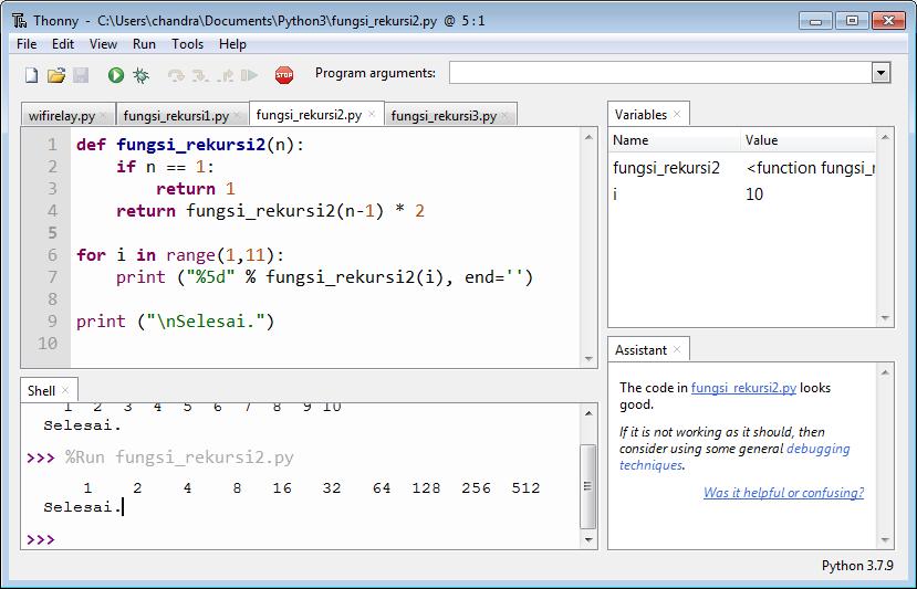 Tampilan program Rekursi 2 versi Python