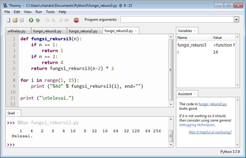 Program Rekursi 3 versi Python