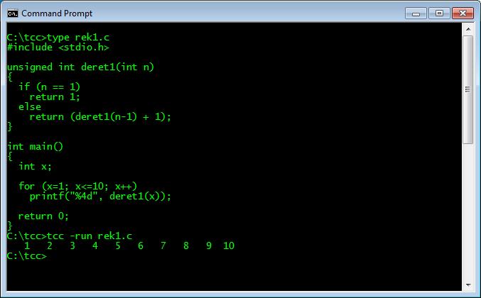Fungsi Rekursif 1 dalam bahasa C dan hasil eksekusinya